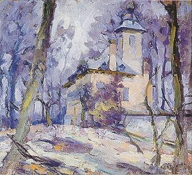 poboh:  Chateau in the Woods, Joseph Morris Raphael. merican Impressionist Painter (1869 - 1950)
