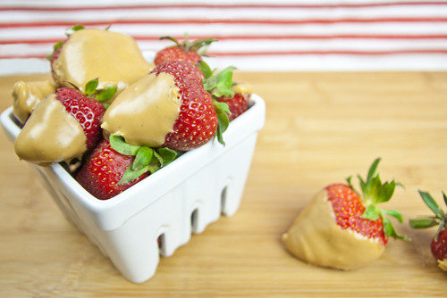Peanut Butter Covered Strawberries Fresh strawberries dipped in Smooth Operator peanut butter. Conceived By Lee ZalbenPhotography By Dina Horowitz