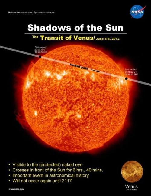 the-star-stuff:  Shadows of the Sun.  This gives you an idea of what SDO will see on June 5-6, 2012. It's not long now, only ~20 days away!