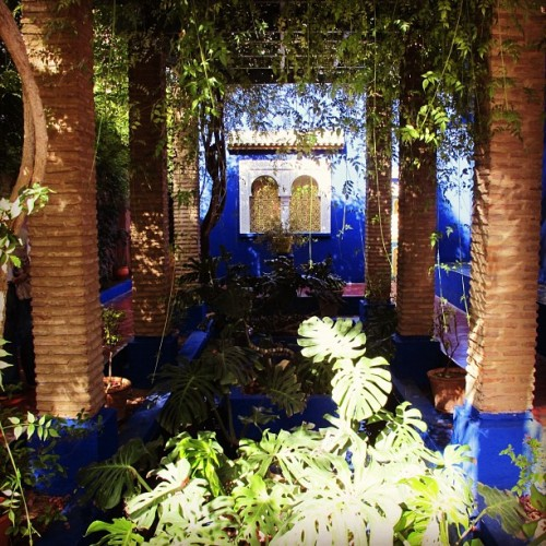 This color blue.  At Jardin Majorelle. Since 1980, the garden has been owned by Yves Saint-Lauren and Pierre Bergé. After Yves Saint Laurent died in 2008, his ashes were scattered here.