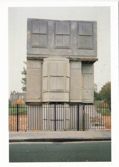 "Empty House Contemporary artist Rachel Whiteread creates ghostly casts in plaster of spaces.  The sculpture exist as a monument to the space that is not occupied by the objects she responds to.  Each cast reflects years of wear, where cracks have fissured, dust has gathered and wood has warped. This piece entitled, ""House"" (1993) is a concrete cast of a Victorian house in East London, exhibited exactly where the original house once stood.  Controversial, some loved the work, others hated it and it was destroyed by the London Council about a year after it was made.  The Independent wrote about it, ""Denatured by transformation, things turn strange here.  Fireplaces bulge outwards from the walls of the House, doorknobs are rounded hollows.  Architraves have become chiselled incisions running around the monument, forms as mysterious as the hieroglyphs on Egyptian tombs."" Whiteread's gallery The Independent, ""Rachel Whiteread, 'I've done the same thing over and over'"" BBC Interview with Whiteread Film on the making of House xxxxanaxxxx:  Untitled (House), Rachel Whiteread, 1993"