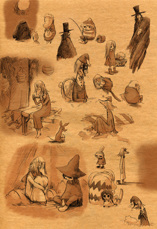 vederlicht:  A large collection of really nice sepia Moomin drawings. A lot of these come from Moominvalley in November and Moominland Midwinter.  <3 !