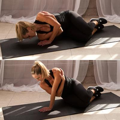 Tricep Toner: Side Lying Tricep Lift  Lie on your right side with both legs bent and together and your left arm bent in front of your chest, left palm pressing into the floor in front of your right shoulder. Bend your right arm under your left armpit and grab the outside of your left shoulder with your right hand. Tighten your abs, and exhale, pressing away from the floor, lifting your upper body off the ground with your left arm. Bend your left elbow and lower your body back to the floor, but only until your right shoulder lightly touches the ground. Press back up. That's one rep. Do 10 reps with the left arm, 10 with the right.  Form tip: Don't 'rest' on the floor when you lower back down. Focus on pressing up with the back of your left arm and keep your abdominals engaged the entire time. Via Shape