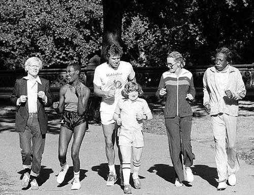 Andy Warhol, Grace Jones, Bill Boggs, Mason Reese, Dina Merrill and Gordon Parks.  Central Park, New York, 1978.