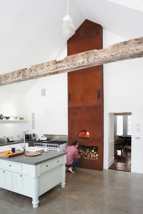 Kitchen with a built-in, wood-fired pizza oven (via Hope Floats - Slideshows - Dwell)