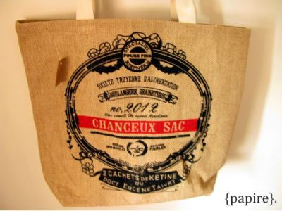 Burlap Tote : Ornate  Dimension: 42*38 cm Canvas Handles are 20cm in height Waterproof coating on the inside Rectangle Base at the bottom of the tote bag measures 16.5 * 31 cm Waterproof coating on the inside Silkscreen printing on the front Our very own zakka style influenced line.  These bags are large, durable and strong.  Carry your bulky items in style. Great quality. {papire}.'s Travel Pick.  SGD$18.00 each  Detail: