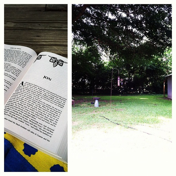What I'm reading and my view. Love it. (Taken with instagram)