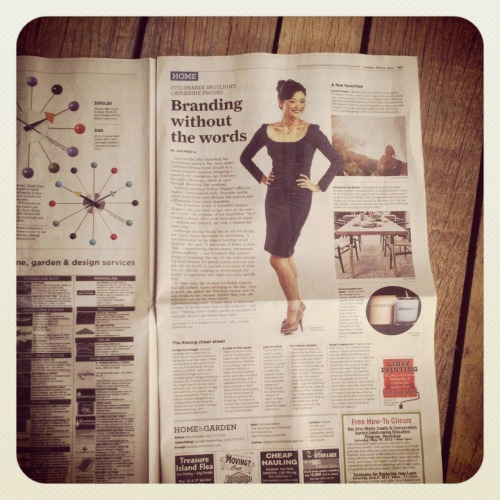 "We're in the paper!  I feel so honored to be named a ""Stylemaker"" by the San Francisco Chronicle.  This article appeared in last Sunday's edition, and it was crazy to see it staring back at me in the morning newspaper.  I've had projects published before, which I love, but there's something weird about seeing your own photo in print…   But I am grateful, of course, and thanks to all the people behind the photos: Evans & Brown, Matthew Reamer, Bess Friday, and Unionmade!  See the entire article here."