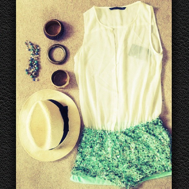 #outfit #fashion #styling #playsuit #sequins #hat #bracelets #green #white #shirt #photography #work  (Taken with instagram)