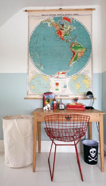 (via Suzie: House & Home - Rustic desk, modern red wire chair, world map art, canvas laundry bag, …)