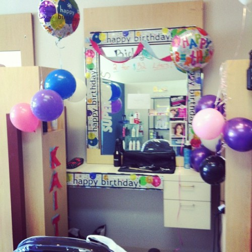 The girls decorated my station early for my birthday tomorrow!! HAPPY BIRTHDAY TO MEEE☺🎉🎈🎂 #supercuts #bestfriends #adorable (Taken with instagram)