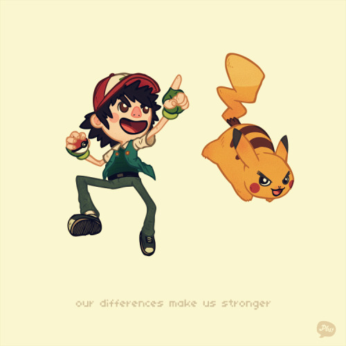 Stuff I learned from video games: Our differences make us stronger. EDIT: Whoops, forgot Pikachu's stripes. Thanks, deviantart person.