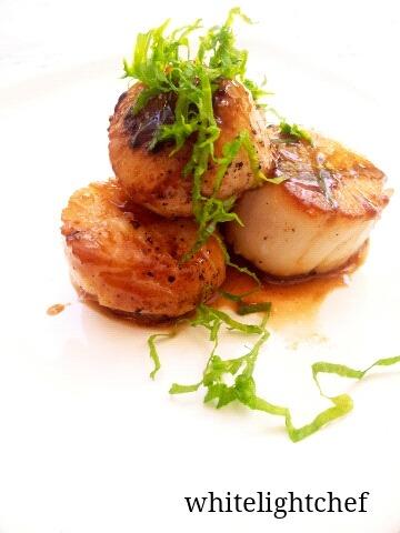 Wild Diver Scallops, Organic Brown Butter, Murray River Salt, Mustard Greens Highlights… Just a little someth'n someth'n.