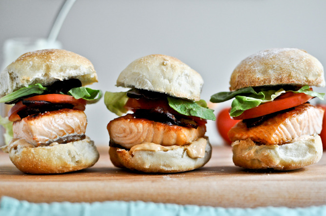 gastrogirl - crispy salmon blt sliders with chipotle mayo.