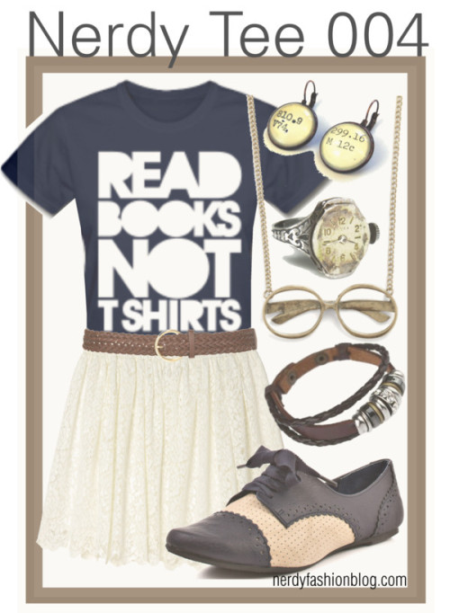 Nerdy Tee 004 | Bookish! by chelsealauren10    Monki summer skirt, €22Not Rated round toe shoes, $35Curb chain necklace, $13Rope jewelry, $14Vintage style earrings, $22Timex engraved jewelry, $38Woven belt, £2.50  You can find the tee here for $14!   Have you ever worn a tee with a skirt? It's a cute look that's easily accomplished! If you're into wearing skirts, but don't own any, here's my biggest tip on them: You should have one in both black and white to make it easier to match up with other colors instead of getting too matchy-matchy and trying to find one for all occasions. Keep it simple (and don't break your bank!). Of course if skirts aren't your thing, cute shorts of any length or jeans will always be an option. ;)