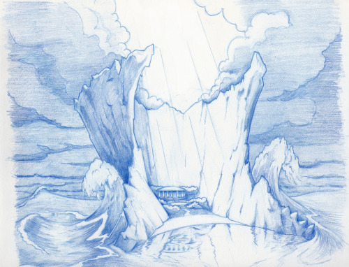 Another concept for The Odyssey.  This is Calypso's Island, where Odysseus was held prisoner.  Calypso loved Odysseus, and wanted him to be happy, so the sun shines on the temple and landscape.   But I wanted it to also appear to be a prison, so the giant walls secluded the island from a permanent storm raging just outside.