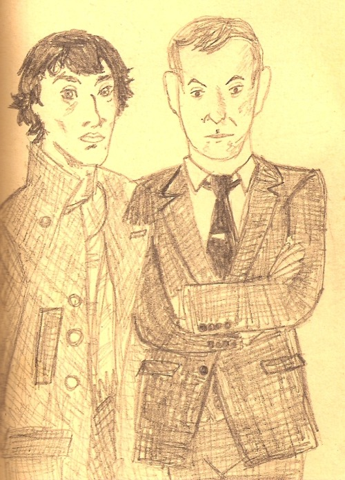 raptorific:  Bedtime sketch of the Holmes brothers in which Sherlock and Mycroft look like themselves, but also like Biney Moser and Agent Phil Coulson! Let me know if there's anything else y'all would like me to draw!