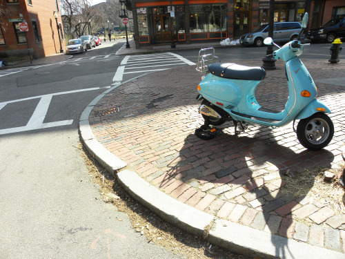 Are you scooting on up Roman Holiday style? Boston seems to get a touch more European in the spring time when more scooters cruise the streets. It is certainly visible in the South End, where I snapped this shot.
