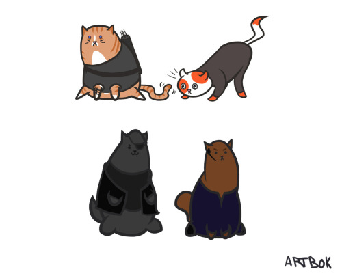 artbok:  The Avengers… as cats! (top picture: the Hulk, Iron Man, Thor, Loki, Captain America, and Agent Phil Coulson) (bottom picture: Hawkeye, Black Widow, Nick Fury, and Agent Maria Hill)
