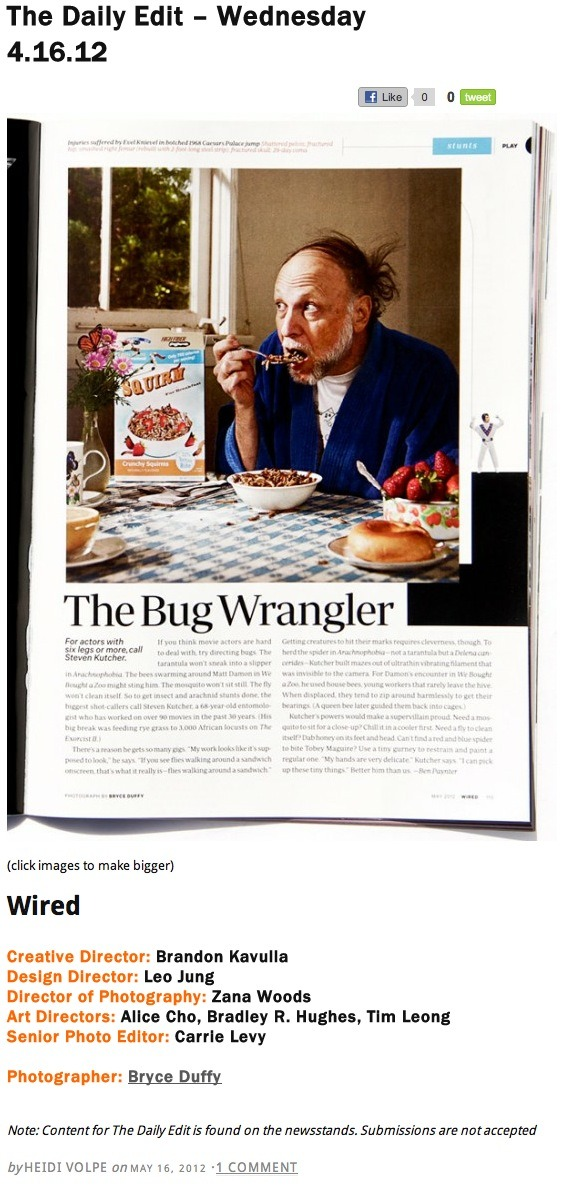 My image of bug wrangler Steve Kutcher shot for Wired Magazine made The Daily Edit on Rob Haggart's A Photo Editor blog today.  Nice.