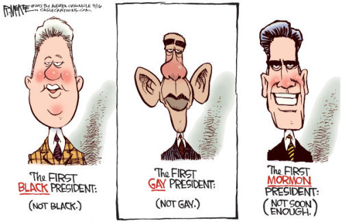Conservatives celebrate Romney's one consistency: his soulless expression. He would have the same smile on his face whether he had just been elected president or got caught crushing a cat's skull. A good cartoon.