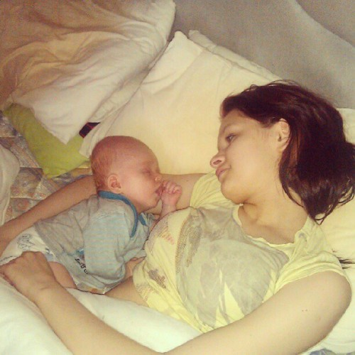 Wee cutie, fell asleep next to his mummy :'-) <3 (Taken with instagram)
