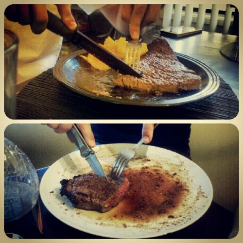 So this is how a soldier eats his steak??? Gerber & ka bar??? #knife #ka-bar #gerber #army #soldier #steak  (Taken with instagram)