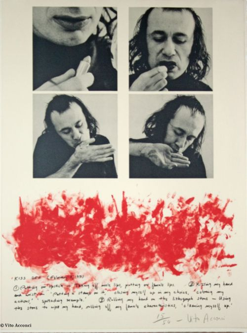 Kiss Off, Vito Acconci. While the artist is commonly present in depictions of performance art, this presence is not intended as an exploration of the self as in self-portraiture. Instead, the artist's body serves as a catalyst for ephemeral actions, preserved only through documents and photographs. Vito Acconci captures the use of his own body as an art-making implement in Kiss Off. For this work, Acconci transferred red lipstick from his own mouth to various parts of his body, which he then pressed onto a printing stone to be transmitted to paper. The artist is thus present not only in the photographic documentation of the act, but in his body's literal inscription in the final work.