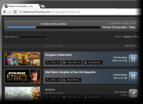 Steam Remote Downloads Now Available Online  Available immediately, users' Steam library of games can now be managed remotely via the web. With an active Steam client running on the remote PC or Mac, users may log into the Steam web site or mobile app to access and manage their library of games, downloading pre-loads, new releases, or their latest purchases, as soon as they're available. Head home to find your new downloads installed and ready to play upon arrival.To kick off a remote download, simply visit your Games list on the Steam Community site, which can be accessed from your own profile using a web browser or the Steam mobile app on iOS or Android. If logged into the latest update of the Steam client on a PC or Mac, there you'll see which games are currently installed, and have the ability to install others from your library. Or, seamlessly complete your online purchase with remote installation: When a remote session is detected, the Steam store will ask whether you'd like to download your new purchases immediately.