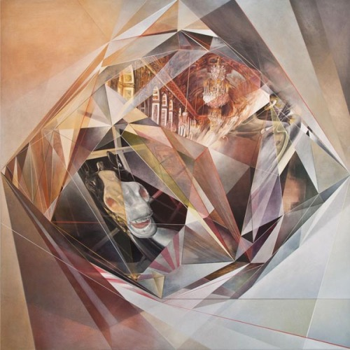 "ALKAHEST A series of paintings by artist Jonathan Saiz.  ""In this crystalline form everything is made of the multitude - the splendors of Versailles, the rearing stallion and other distractions or ambitions. A curious history restlessly shifting, its charged particles and reflections dissolving into a universal something. Its mystical alignment ordered by instinct or impulse where themes emerge through incoherent leaps and the vague impressions of something more about to appear or having just faded.""  Check out more artworks of the ALKAHEST series here. via: WE AND THE COLORFacebook // Twitter // Google+ // Pinterest"