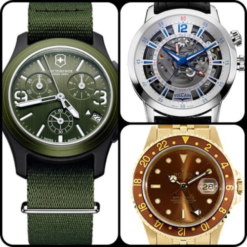 Samples from our #Graduation #Gift Guide: Victorinox #Swiss #Army Original #Chronograph, #Vulcain #Anniversary #Heart & #Rolex 18K #Yellow #Gold GMT-Master Automatic #picstitch #watch #watches #WOMW #grad #celebration #amazing #green #love #photooftheday #picoftheday #bestoftheday #classic #handsome #professional (Taken with instagram)