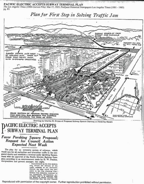 Persh. Sq. Term. LA Times 1923 on Flickr. Subway plan below Pershing Square for the Pacific Electric Railway Company as reported by the Los Angeles Times.