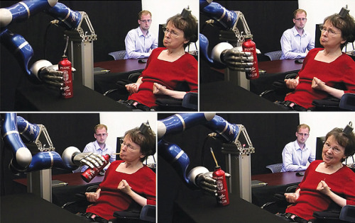 "Brain Implant Lets Quadraplegics Control Robot Arm With Their Thoughts:  The brain implant is a small array that's four millimeters on each side (""about the size of a baby aspirin,"" says Donoghue) with 96 hairlike electrodes extending from one side. The device sits on the surface of the brain, and the electrodes penetrate the arm-controlling region of the motor cortex by one millimeter. The implant records the impulses of dozens of neurons. A patient's intent to move generates these impulses, which are then transmitted to a computer that translates the patterns of electrical activity into commands that can control a robotic arm. ""What's striking to me about this study is that it's nicely showing, for the first time in human patients, that you can use these signals to control a robot of importance for activities of daily living for a patient,"" says Andrew Jackson, a neuroscientist at Newcastle University. The researchers say that algorithmic improvements in picking up patterns of activity in the brain and interpreting those patterns were key to the advance. The goal of the pilot clinical trial is to develop technologies that can restore the ability to communicate and move and to give independence to people with neurological disease or injury. So far, seven patients have enrolled in the trial. The two participants in this latest work both suffered from brain-stem strokes that left them unable to speak or move their limbs. At the time of the study, one patient had the implant for five months, the other for more than five years. The longevity of the implants demonstrates that the device can pick up usable signals from the brain for years, a point of concern in the field. ""When you put something into the brain, there's a reaction to the presence of that device,"" says Donoghue. Cells are damaged or displaced by the electrodes, and the brain can form scar tissue around them. But ""it doesn't seem that the reaction of the brain is a barrier to recording,"" says Donoghue.  (via Brain Chip Helps Quadriplegics Move Robotic Arms with Their Thoughts - Technology Review)"