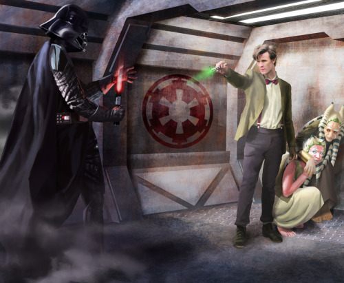 Doctor Who vs. Darth Vader by Benoit Dromby (drombyb on deviantART) Dromby's Paintings