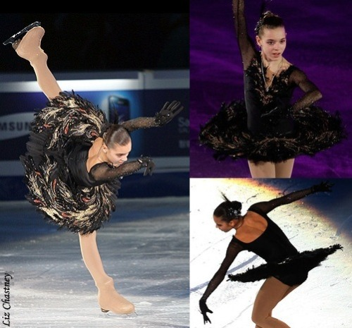 Adelina Sotnikova's awesome Black Swan costume at the 2010 Junior Grand Prix Final and 2011 Junior World Championships. Photos from Zimbio.com.