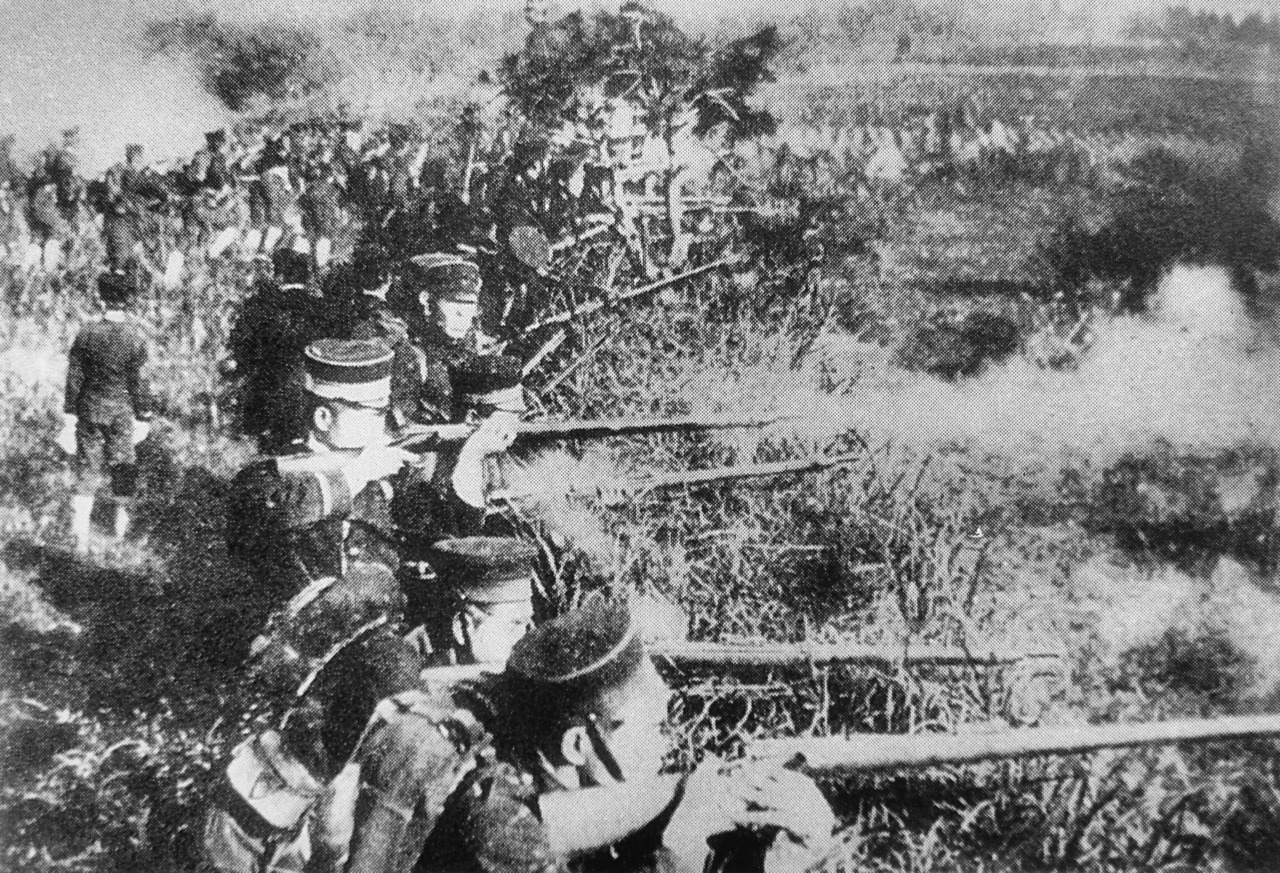 "Japanese soldiers in 1894 during the First Sino-Japanese War. Taken from ""Bakumatsu Meiji no Shashin"" by Ozawa Kenshin."