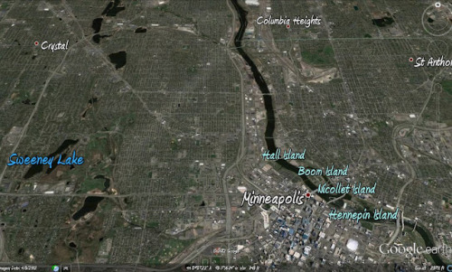 erikostrom:  Path of North Minneapolis tornado now visible in Google Earth. (One year later.)