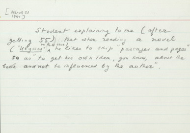thepenguinpress:  Vladimir Nabokov's note card, c. 1969.