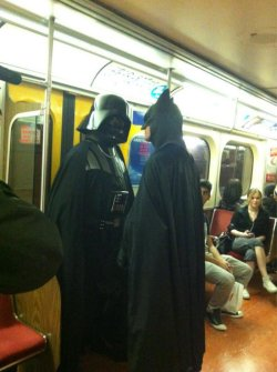 collegehumor:  Darth Vader and Batman Face Off on the Subway Oh no, if Vader force-chokes Batman his voice will be all raspy.