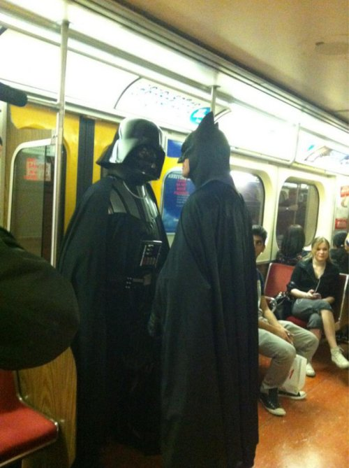 collegehumor:  Darth Vader and Batman Face Off on the Subway Oh no, if Vader force-chokes Batman his voice will be all raspy.  Ultimate face off