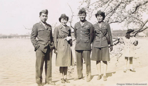 "Nisei soldiers and WACs, 1946 Captioned ""Jim, Kisa, Lorry, Linda,"" this photo was probably taken in 1946 in Washington, D.C. Lorry Nakatsu served in the Military Intelligence Service during World War II in the India-Burma Theater. After the war he was briefly assigned to Camp Ritchie in Maryland and then to a post in Washington, D.C., before he was discharged in July of 1946. There were very few Nisei in the Women's Army Corps, and this is one of the only photos we have showing Nisei WACs."