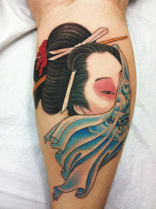 jaramerkal:  Chris Garver - Geisha half Hannya (Demon in veil)