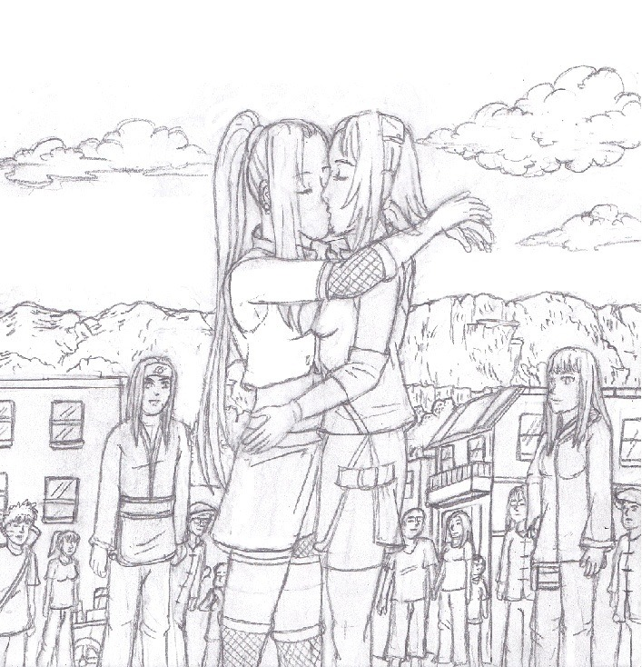 Ino and sakura kissing in the middle of Konoha demonstrating that their no longer afraid to express there love for each other anymore I based it on this fanfic. http://www.fanfiction.net/s/7444793/1/Isnt_Sakura_x_Ino I didn't write the story I only drew the picture.