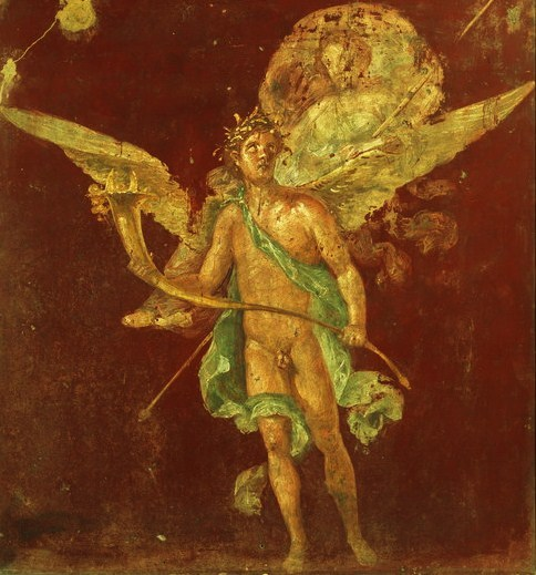 A Winged Spirit with a Cornucopia- from a fresco at the House of Naviglio, Pompeii, Italy