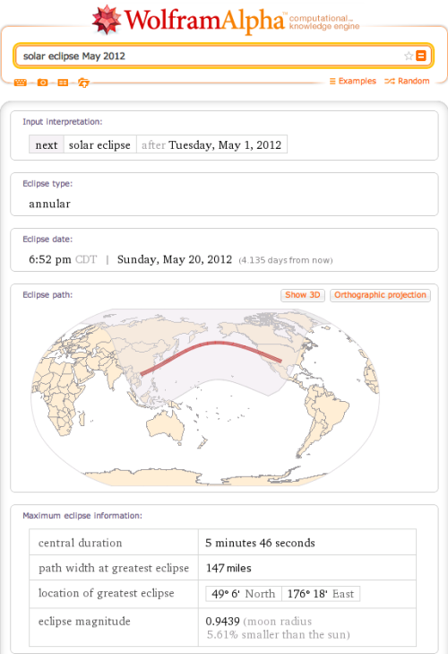 Learn more about the upcoming annular solar eclipse with Wolfram|Alpha.