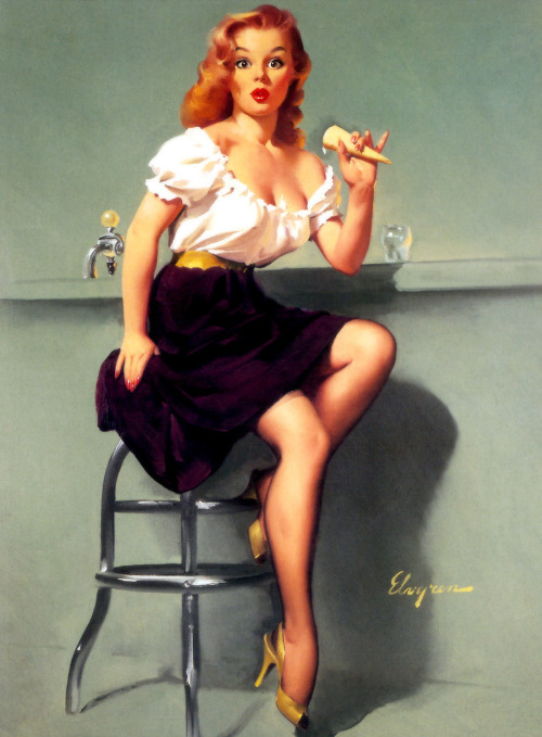 """Cold Feed"" by Gil Elvgren 1958"