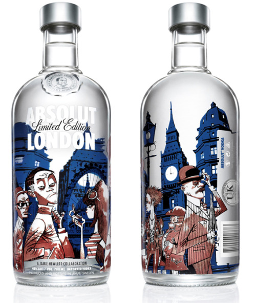 The Jamie Hewlett Absolut Vodka collab is rather awesome.  As I am more than an ocean away from Selfridges, I shall have to pine from afar.