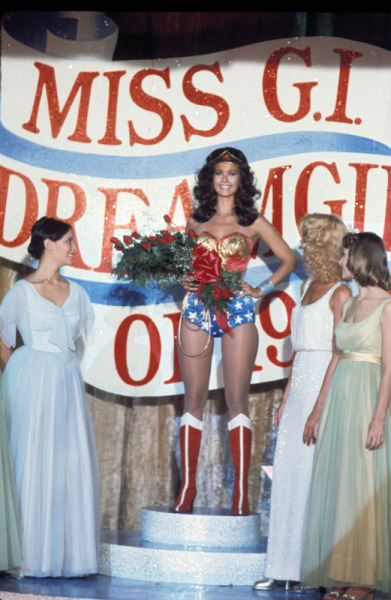 It's Wonder Woman! Did you know that Lynda Carter, also known as Wonder Woman, was formerly a beauty pageant winner and Bob Hope USO cast member? Wonder Woman was quite talented! The television version of Wonder Woman not only participated in a beauty pageant, but also was able to change into Wonder Woman in any location, unlike the comic book character. Learn more about The New Adventures of Wonder Woman, such as Wonder Woman's six costume variations, at the Paley Center Television Out of the Box exhibit!