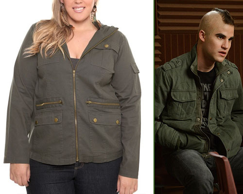 Torrid Olive Hooded Twill Jacket - $20.96