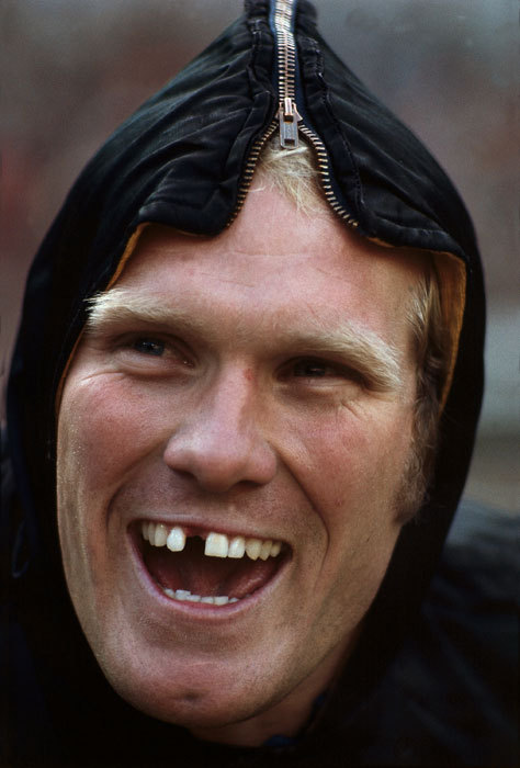 Steelers quarterback Terry Bradshaw shows off his toothless grin during a 1978 game. (Neil Leifer/SI)